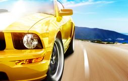 Yellow sport car Royalty Free Stock Image