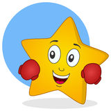 Yellow Star Character with Boxing Gloves Royalty Free Stock Images