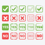 Yes and No square icons in silhouette and outline set Royalty Free Stock Photography