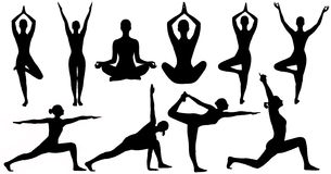 Yoga Poses Woman Silhouette Isolated Over White Background Stock Photography