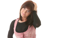Young beautiful brunet woman with face expression. Stock Image