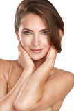 Young beautiful model close up posing for perfect skin Royalty Free Stock Photography