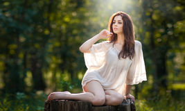 Young beautiful red hair woman wearing a transparent white blouse posing on a stump in a green forest. Fashionable sexy girl Stock Image