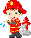 Young boy wearing Firefighter cartoon Stock Photography