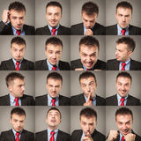 Young business man face expressions composite Royalty Free Stock Photos