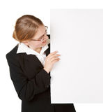 Young business woman with placard Stock Photo