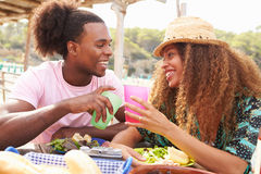 Young Couple Enjoying Lunch Outdoors Together Royalty Free Stock Image