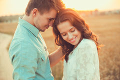 Young couple in love outdoor.Couple hugging. Stock Image