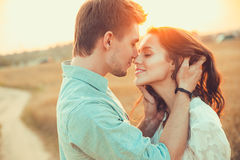 Young couple in love outdoor.Couple hugging. Royalty Free Stock Photo
