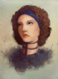 Young curl woman in collar portrait Stock Images
