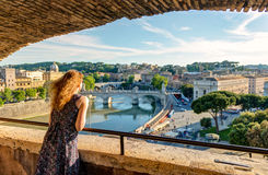 Young female tourist admiring the view of Rome Royalty Free Stock Photos