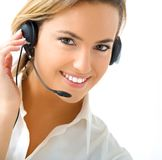 Young girl in call center Royalty Free Stock Images