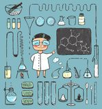Young Girl Chemist and Laboratory Tools Collection Stock Photography
