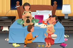 Young Girls Having a Slumber Party Stock Images