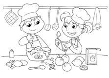 Young kids cooking Stock Photo