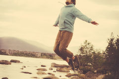Young Man Flying levitation jumping outdoor relax Lifestyle Stock Images
