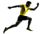Young man sprinter runner running silhouette Royalty Free Stock Photos