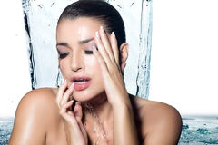 Young Sensuality Woman Showering. Spa Treatment Stock Images