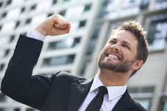 Young Successful Business Man Celebrating in City Stock Photography