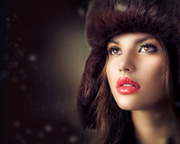 Young Woman in a Fur Hat Royalty Free Stock Photos