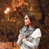 Young woman portrait autumn evening. Royalty Free Stock Photography