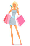 Young woman using her phone while shopping Stock Images