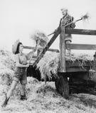Young women bucking hay Stock Photography