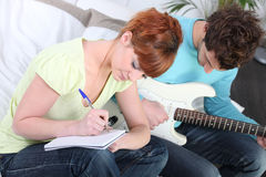 Youth writing a song Royalty Free Stock Images