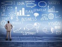 Zakenman die Innovatieplan bekijken. Stock Afbeelding