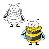 Zangão peludo listrado preto e amarelo dos desenhos animados Fotos de Stock