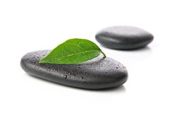 Zen stones with leaf Royalty Free Stock Photo
