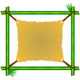 Zielona bambus rama z obdartą kanwą Zdjęcia Stock
