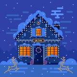 Zimy nocy krajobrazy i dom Akcyjna płaska wektorowa ilustracja Fotografia Royalty Free