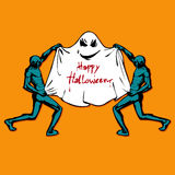 Zombie and Cute funny Ghost. Happy Halloween. Flat style Royalty Free Stock Photo